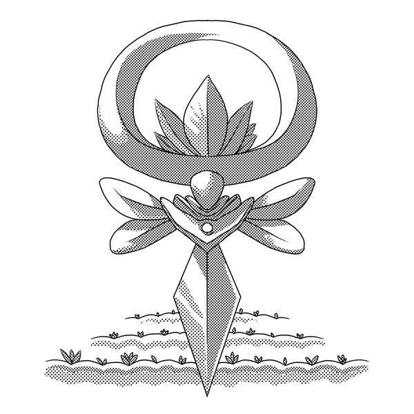 Monochromatic, digital artwork of an Ivalice video game UI, done in comic style with screentones. This one has leaves and tilled fields to reflect 'springtime' and 'earth.'