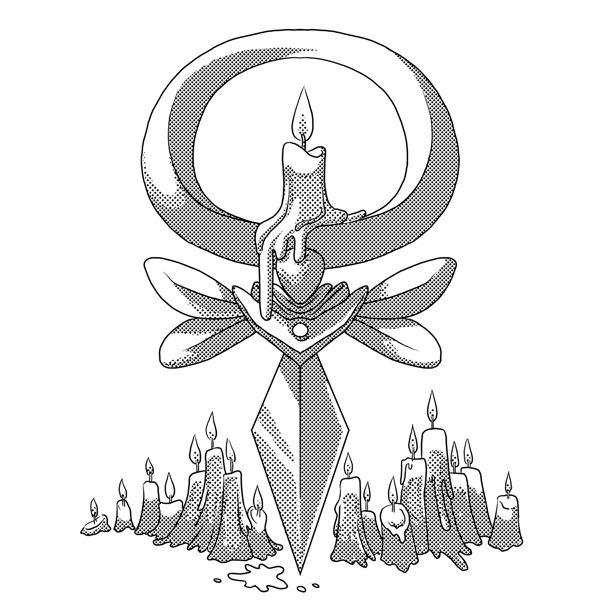 Monochromatic, digital artwork of an Ivalice video game UI, done in comic style with screentones. This one has melting, lit candles to represent the season of summer and the element of fire.