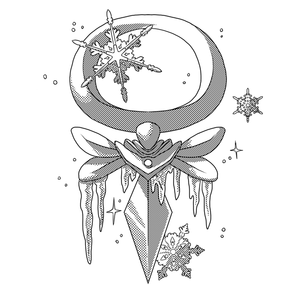 Monochromatic, digital artwork of an Ivalice video game UI, done in comic style with screentones. This one has icicles frozen to it and snowflakes around it to represent winter and water.