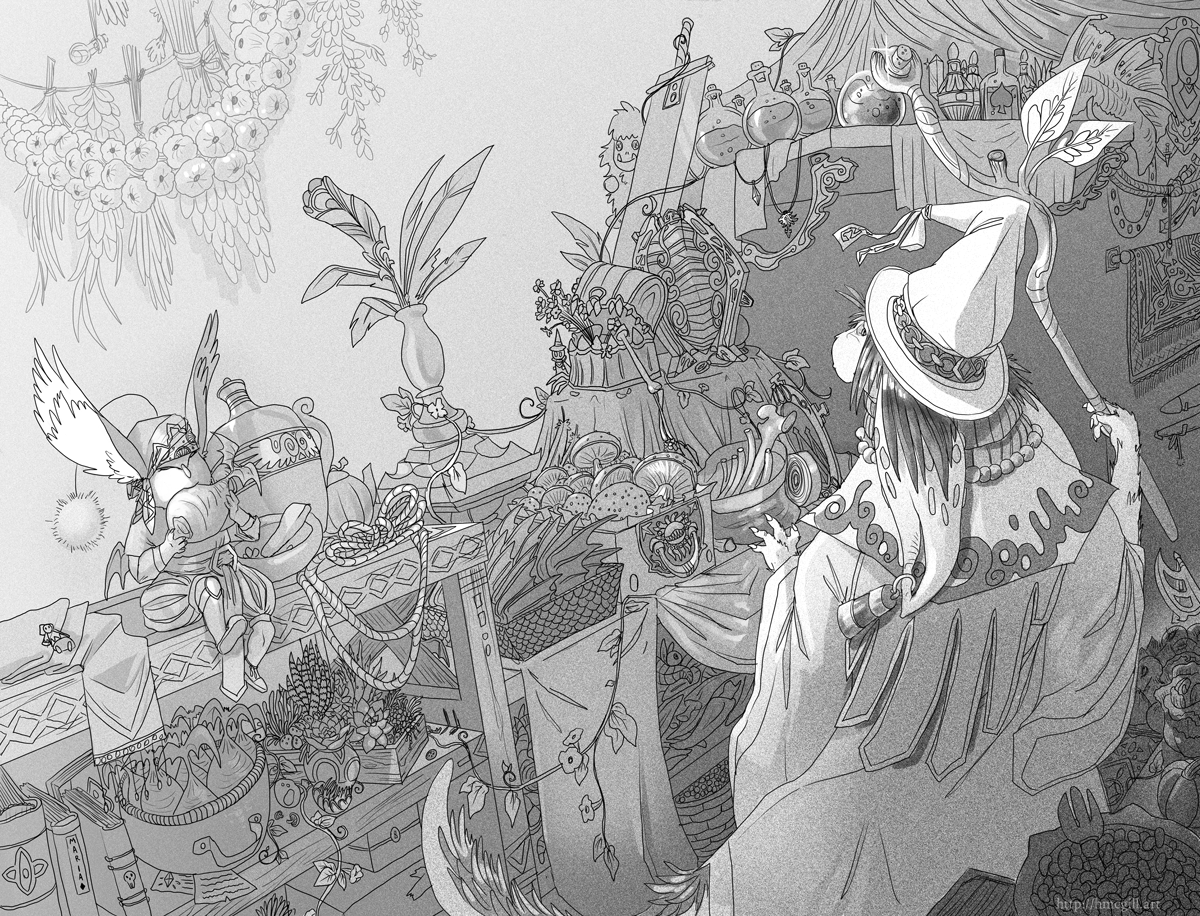 Example of a zine illustration that spreads across two pages. It depicts a nu mou character from Final Fantasy in an item shop, accompanied by a moogle character eating a kupo nut.
