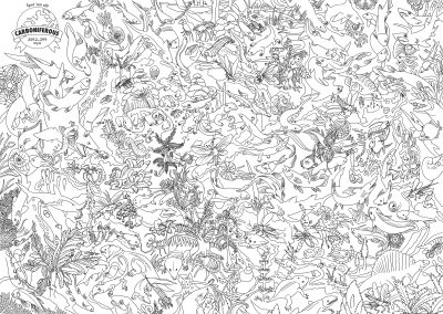 """Two-page digital art spread, lines only and no color, depicting as many organisms of the Carboniferous as I can fit into two pages. A placard of the Earth with a ribbon states: """"Spot 'em all! Carboniferous 359.2-299 mya"""". The rest of the composition has creatures that are too numerous and tedious to name, over 250 of them, and they're all arrayed across the composition like a wild mural."""