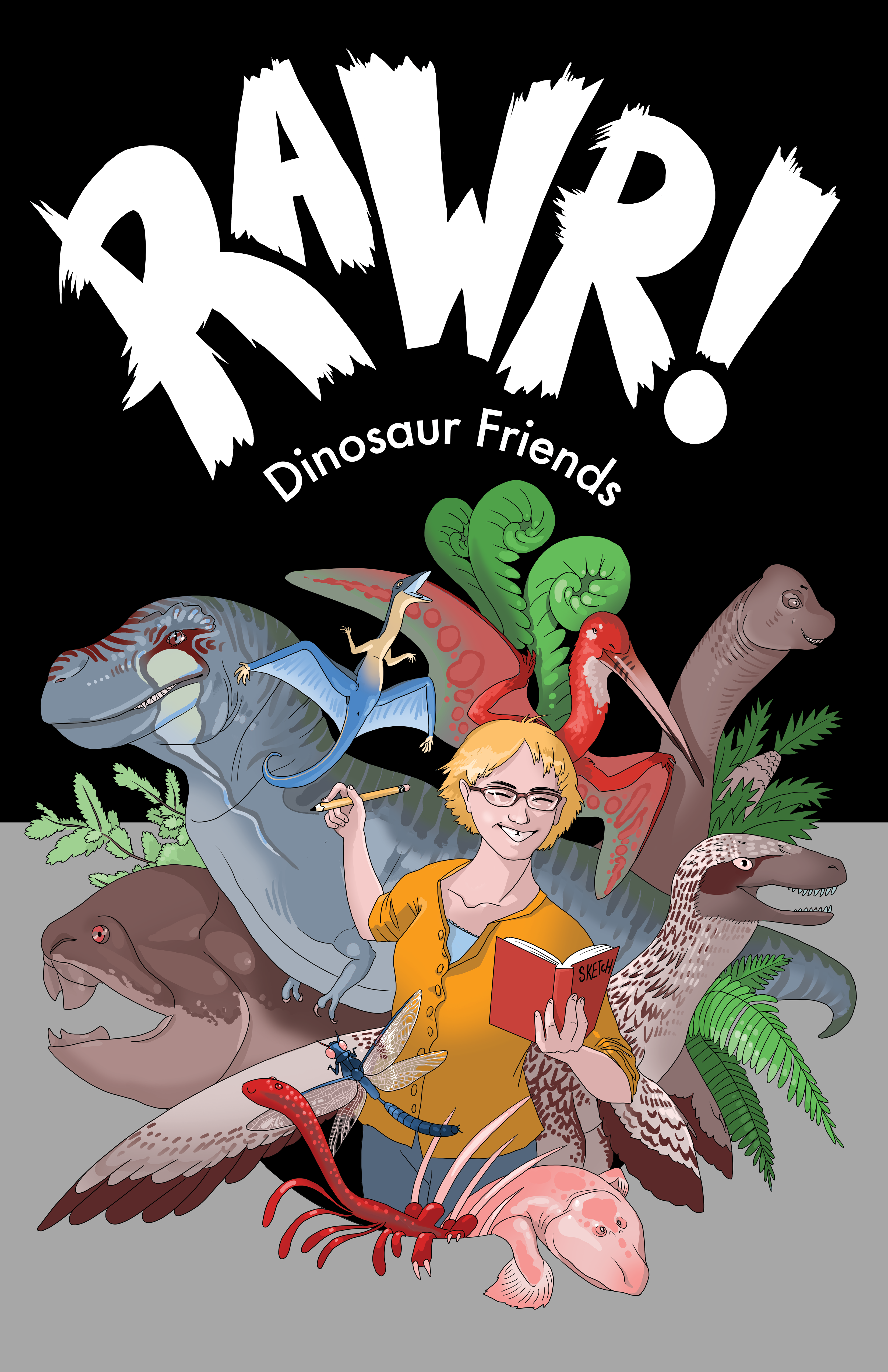 Cover of RAWR! Dinosaur Friends pitch. It displays several prehistoric creatures on a black background with a self portrait of the artist in the middle.