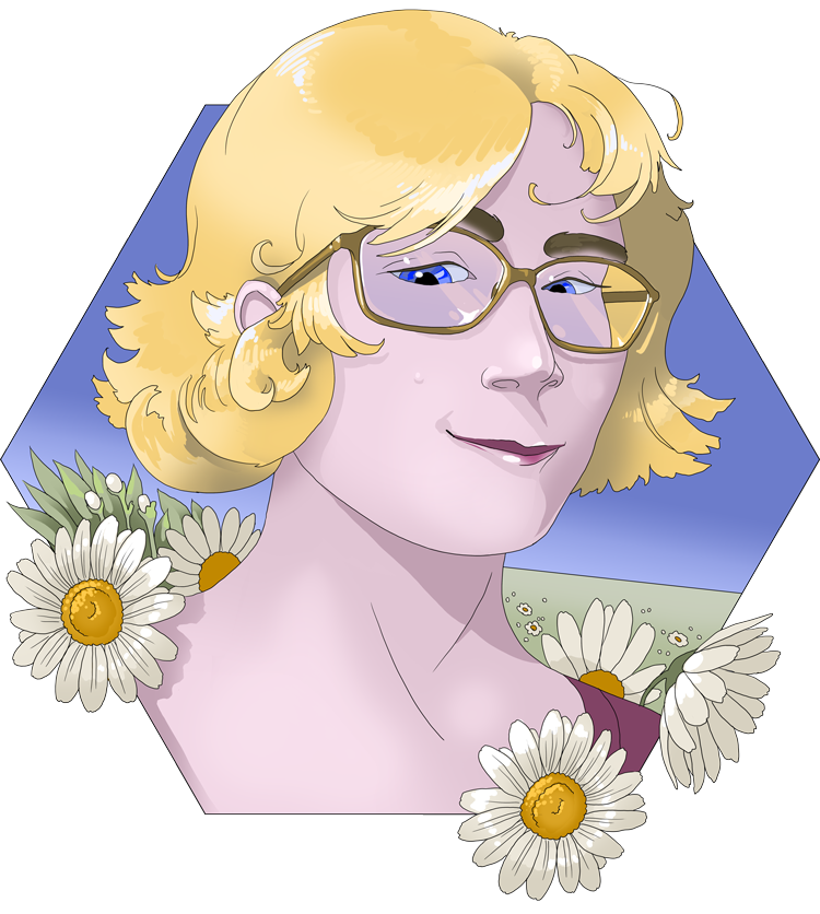 Digital illustration of H. McGill. A blond-haired, bespectacled person with blue eyes and a small smile standing in a field of daisies. Face is framed by a hexagon. The sky is deep blue.