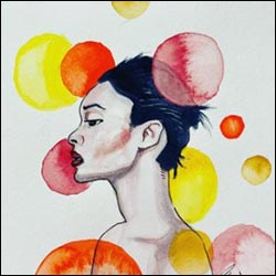 Watercolor work by Chris Lye. It depicts a wistful figure looking to the left with spots of watercolor layered around them.