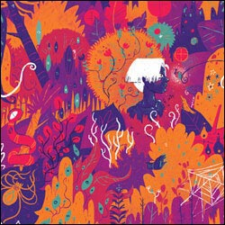 Whimsical, technicolor digital art by Dante Hookey. It's a cluttered forest full of snakes, spiders, rainbow trees, and wee monsters.