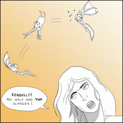 """A panel sample from Syne's comic. It depicts a bat flapping around drunkenly on an orange background. Gladiolis, the annoyed werewolf (currently human) says, """"Seriously? You only had two glasses!"""" at the bat."""