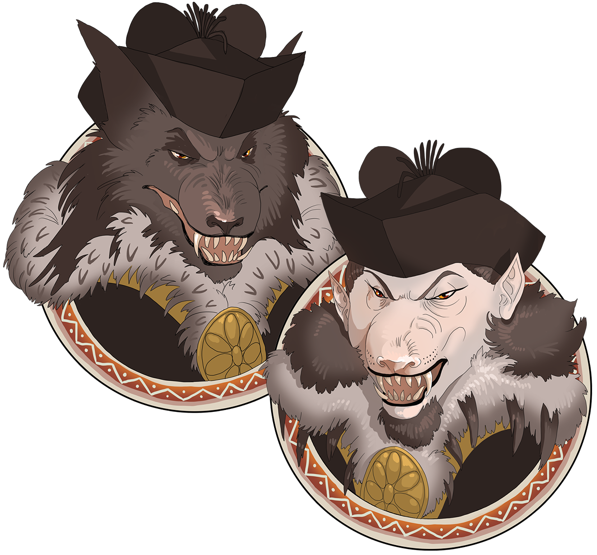 Digital art of a character design based off of the medieval cynocephalus, or dog-headed man. (No relation to Dav Pilkey). The men are both dressed in fine furs with felt hats and wear snarls on their muzzled faces. The only difference between the two is that one man is entirely wolflike, fur and all, while the other man has no fur on their face, leading to a very bald complexion.