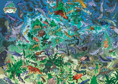 Full-color digital artwork of 250+ creatures of the Carboniferous period. A graphic of the world in the upper left corner encourages viewers to 'spot 'em all!'. The Carboniferous lasted from 359.2-299 mya. There are too many creatures in the graphic to name, but there are sharks, nautiloids, ammonites, fish, amphibians, arachnids, insects, and even a couple of edaphosaurs (mammalian reptiles) present in this period. They're scattered all around the continents before they were even Pangea. Plenty of plants dot the landscape in between, including plants still extant today such as ginkgo.