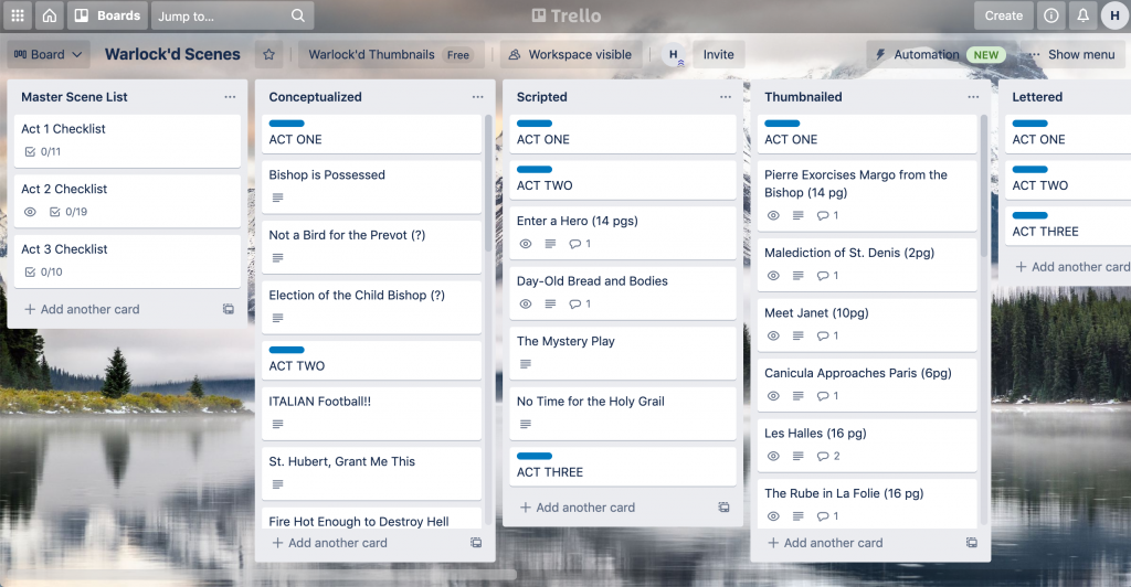 Screen Shot of a Trello board. It has several columns, including to-do lists, lettering, thumbnailing, and the like. The background is a snowy mountain lake.