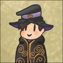 A cute digital chibi artwork by Ash Long of a wizard person with a black hat and black robes. The robes are embellished with gold trim. The hat bears a single yellow flower on a purple band.3wd-f