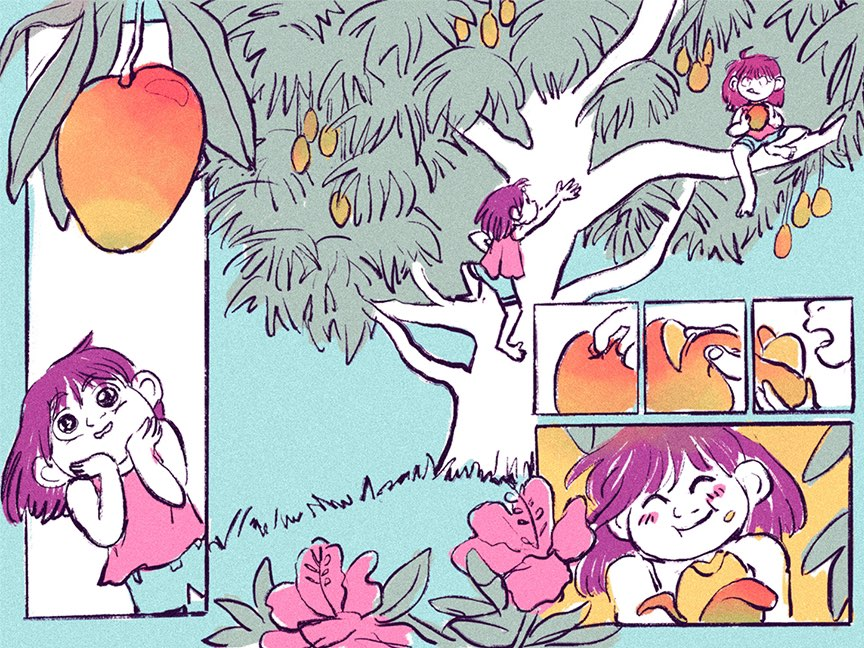 A two-page comic spread of teal, orange, and pink. In the first panel, Jade looks at a delicious mango hanging over head. In panel two, she climbs up a tree that spreads all the way across both pages. Then she sits in the branch and plucks the mango from the canopy. Panels 3-5 are devoted to peeling the delicious mango. The final panel depicts Jade enjoying her well-earned prize.